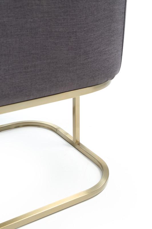 Modrest Yukon Modern Grey Fabric & Antique Brass Dining Chair Regarding Newest Yukon Grey Console Tables (View 18 of 25)