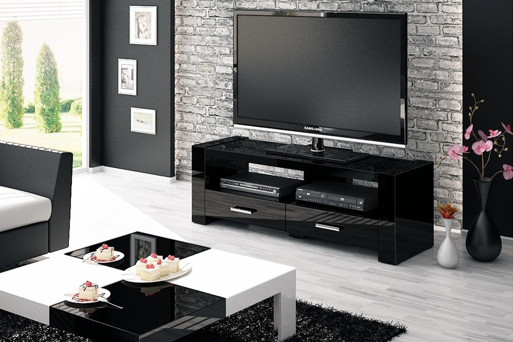 Monaco 2 Black Tv Stand In Most Recent Black Tv Cabinets With Drawers (Image 17 of 25)