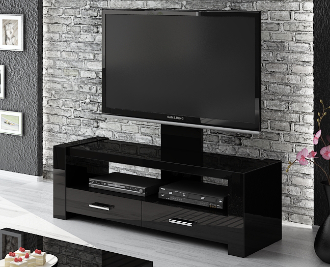 Monaco Black Tv Stand With Popular Black Gloss Tv Stands (Image 14 of 25)