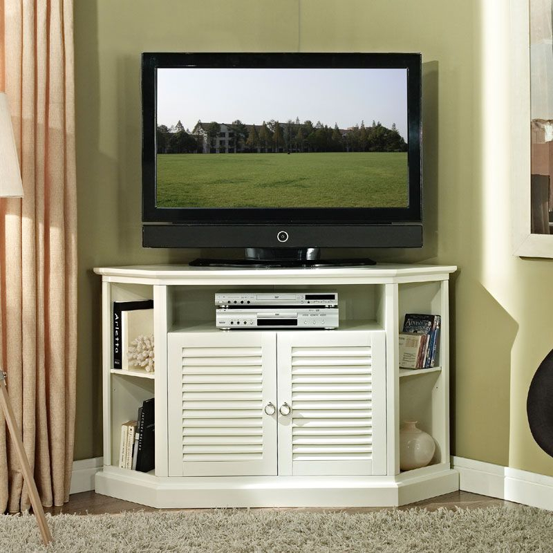 Most Current 55 Inch Corner Tv Stands Inside Walker Edison Wood Highboy 55 Inch Corner Tv Cabinet Gloss White (View 10 of 25)
