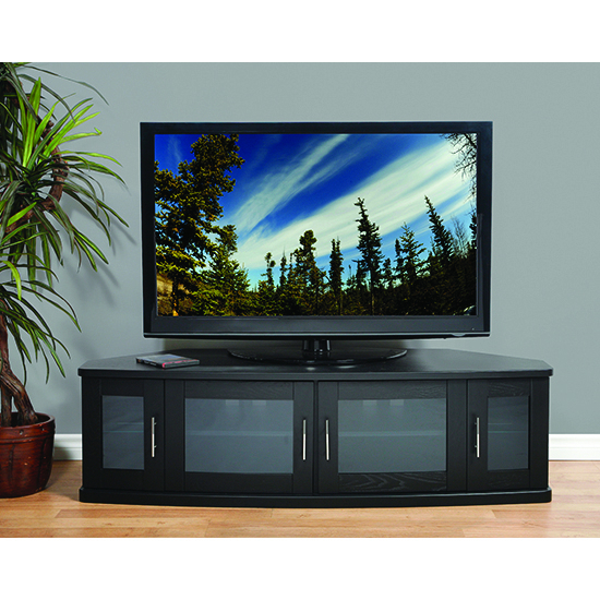 "Most Current Black Corner Tv Stands For Tvs Up To 60 In Plateau Newport62B Corner Tv Stand Up To 70"" Tvs In Black Oak Finish (View 4 of 25)"