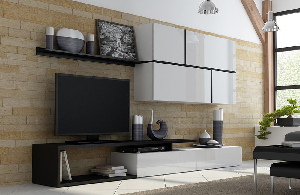 Most Current Black Gloss Tv Wall Unit Regarding High Gloss Tv Wall Unit Goya – Black/white (Image 14 of 25)