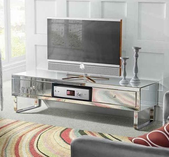 Most Current Mirrored Furniture Tv Unit Within Mirrored Tv Stand Glass Cabinet Contemporary Decor Vintage Unit (Image 16 of 25)