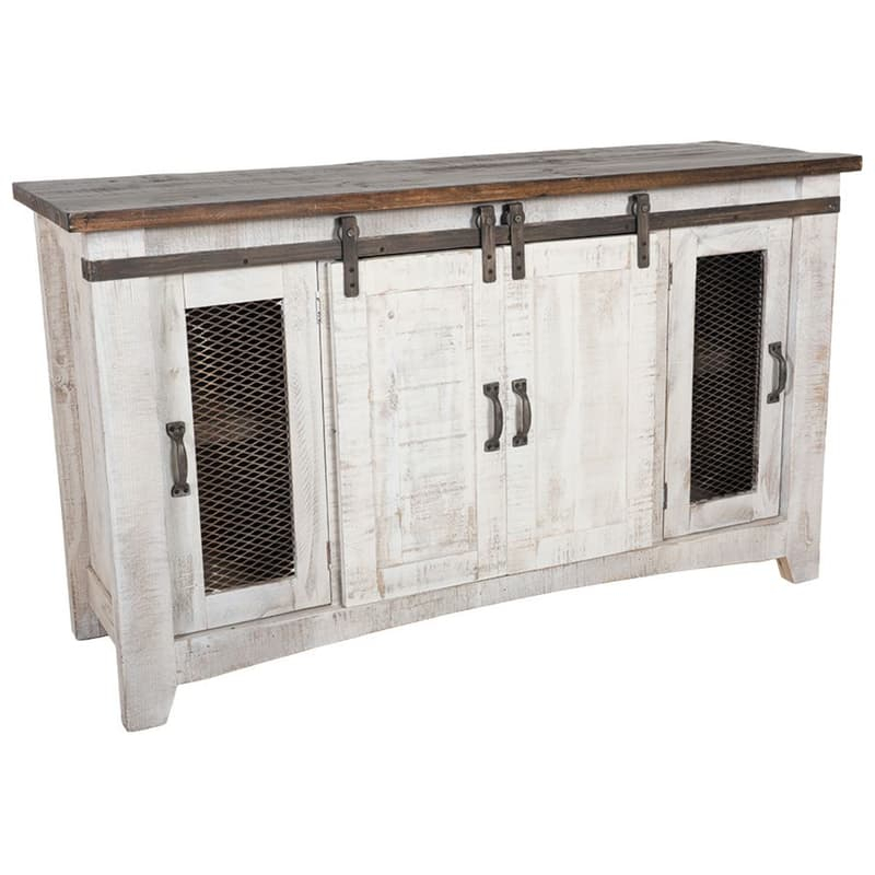 Most Current Murphy 72 Inch Tv Stands Pertaining To Pueblo White Barn Door Tv Stand (Image 13 of 25)