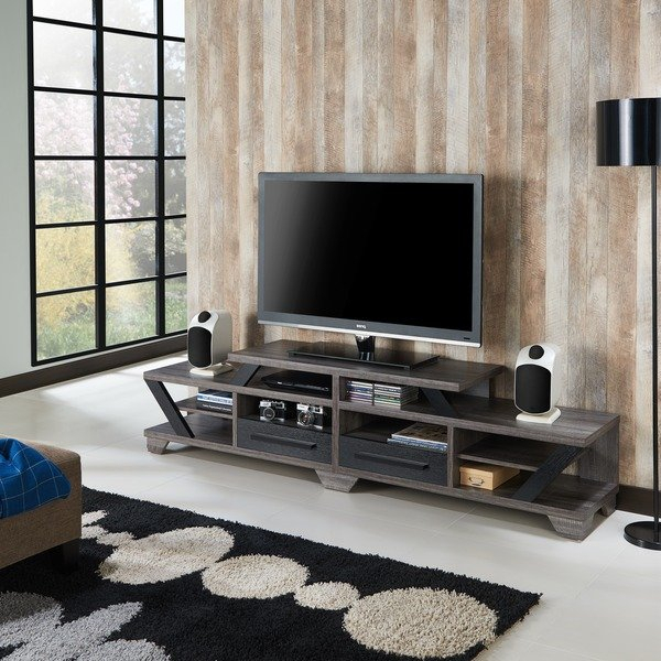 Most Current Noah 75 Inch Tv Stands In Shop Furniture Of America Mezu Contemporary Two Tone Distressed Grey (Image 17 of 25)