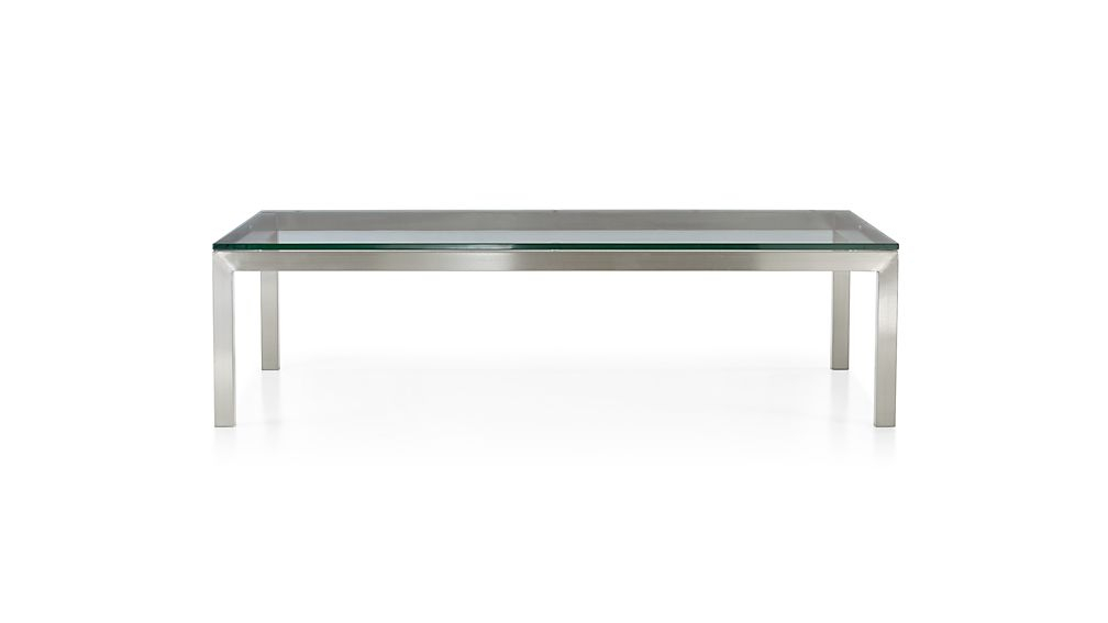 Most Current Parsons Clear Glass Top & Brass Base 48X16 Console Tables Inside Parsons Clear Glass Top/ Stainless Steel Base 60X36 Large (Image 11 of 25)