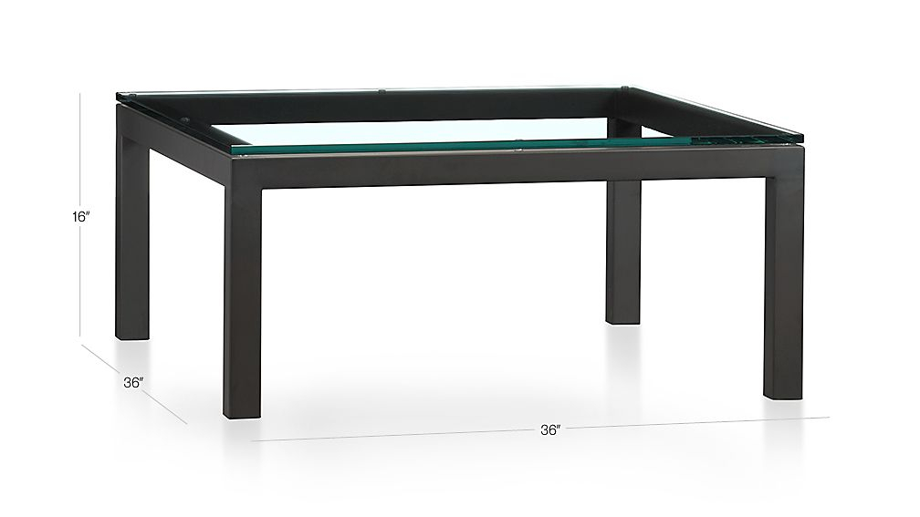 Most Current Parsons Clear Glass Top & Dark Steel Base 48X16 Console Tables Intended For Parsons Clear Glass Top/ Dark Steel Base 36X36 Square Coffee Table (Image 7 of 25)