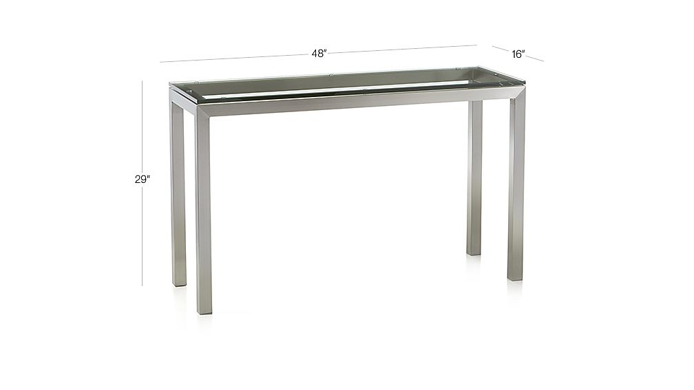 Most Current Parsons Travertine Top & Dark Steel Base 48X16 Console Tables Regarding Parsons Clear Glass Top/ Stainless Steel Base 48X16 Console + (Image 12 of 25)