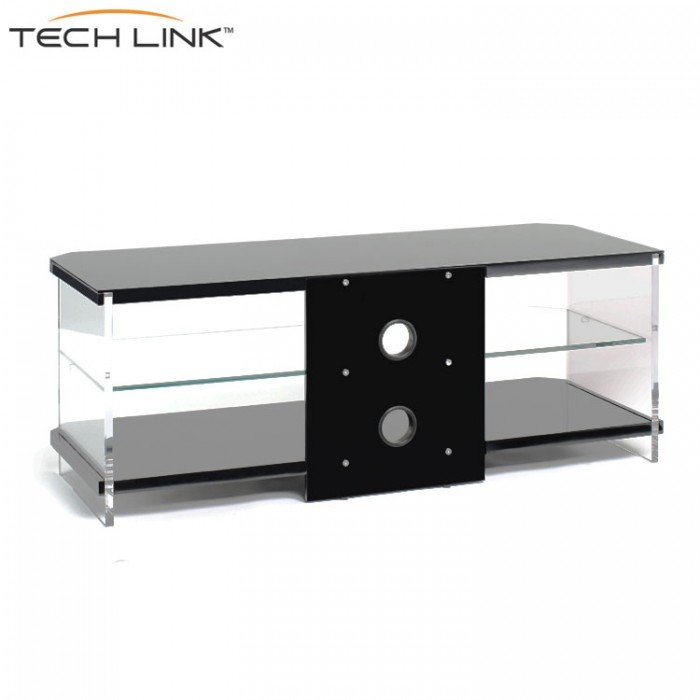 Most Current Techlink Air Tv Stands Within Techlink Ai110B Air Piano Gloss Black With Clear Glass Tv Stand (407210) (View 4 of 25)