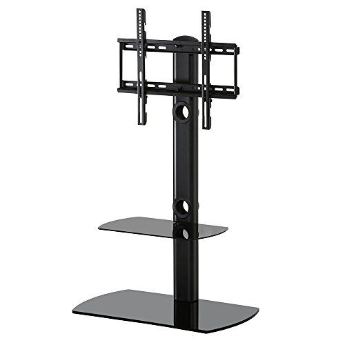 Most Popular Cantilever Glass Tv Stand Throughout Fitueyes Universal Floor Cantilever Glass Tv Stand Shelf With Swivel (Image 15 of 25)