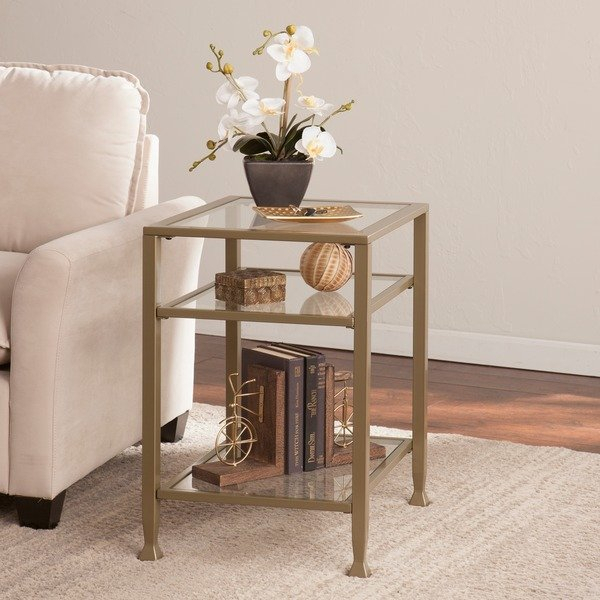 Most Popular Elke Glass Console Tables With Polished Aluminum Base For Metal And Glass Side Table Living Room Living Room Selfpub Elke (Image 14 of 25)