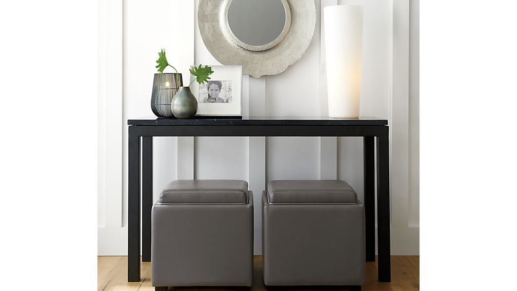 Most Popular Parsons Grey Marble Top & Elm Base 48X16 Console Tables Inside Parsons Black Marble Top/ Dark Steel Base 48X16 Console (Image 10 of 25)