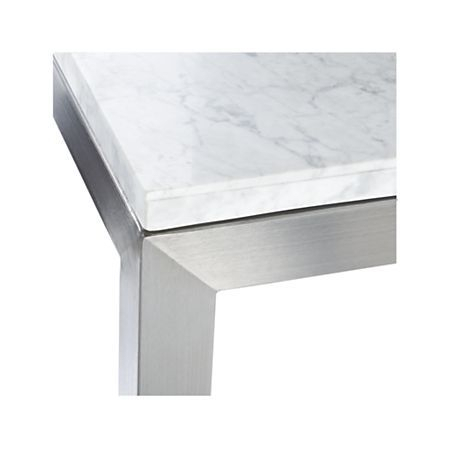 Featured Image of Parsons White Marble Top & Stainless Steel Base 48X16 Console Tables