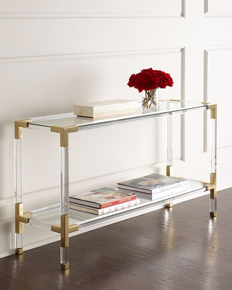 Most Popular Phillip Brass Console Tables With Regard To Jonathan Adler Jacques Acrylic & Brass Console (Image 8 of 25)