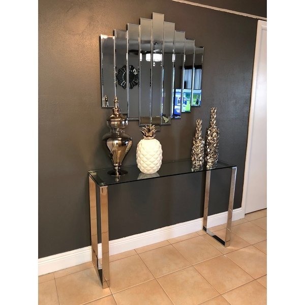 Most Popular Remi Console Tables Inside Shop Cortesi Home Remi Contemporary Chrome Finish Glass Console (Image 9 of 25)
