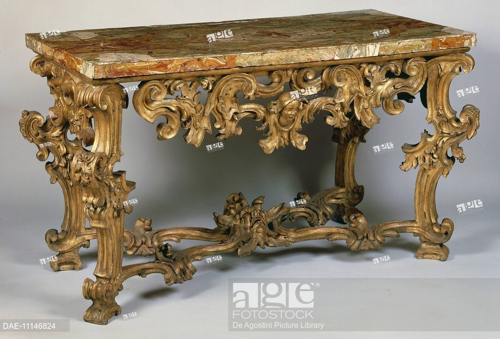 Most Popular Roman Metal Top Console Tables Within Rococo Style Roman Console Table, Inlaid And Gilded With Marble Top (Image 16 of 25)