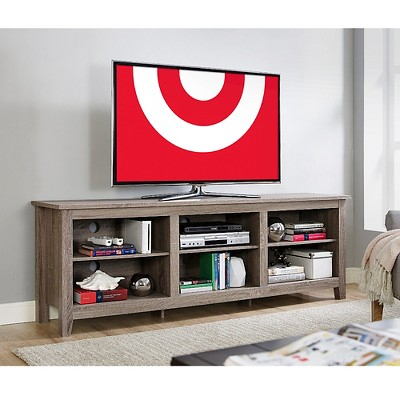 Most Popular Sinclair Blue 74 Inch Tv Stands For 70 Wood Media Tv Stand Storage Console – Driftwood (Brown (Image 10 of 25)