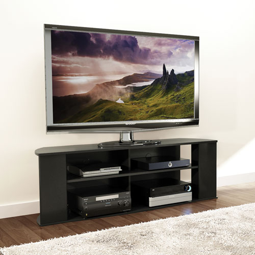 """Most Popular Valencia 60 Inch Tv Stands Regarding Prefac Essentials 60"""" Tv Stand – Black : Tv Stands – Best Buy Canada (Image 15 of 25)"""