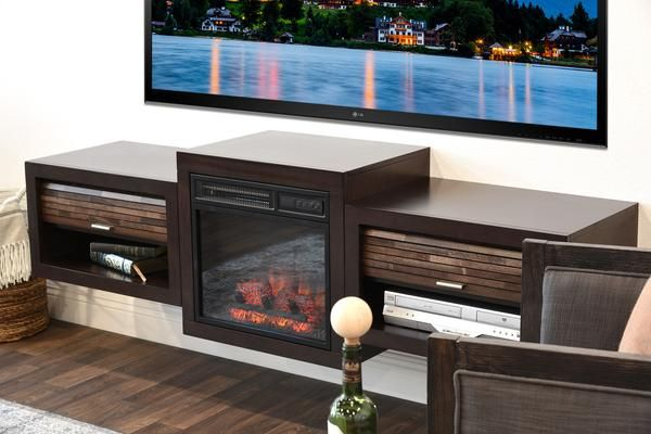 """Most Recent Annabelle Blue 70 Inch Tv Stands With Regard To Fireplace Tv Stand For 60"""" To 70"""" Tv – Eco Geo Espresso (View 11 of 25)"""