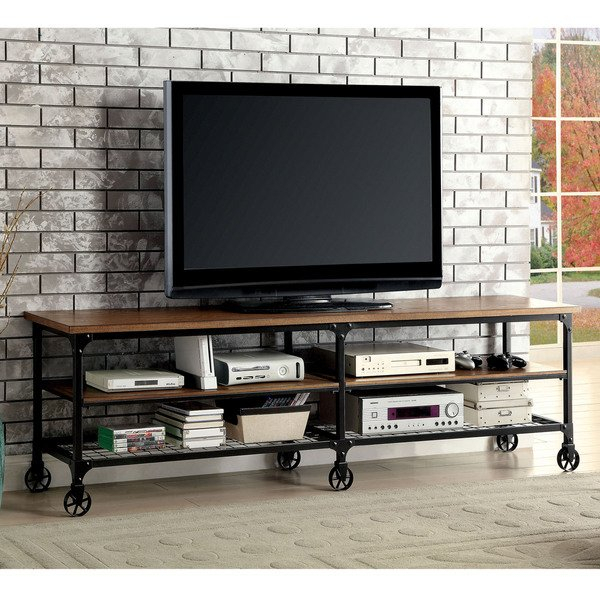Most Recent Canyon 74 Inch Tv Stands Pertaining To Shop Carbon Loft Halligan Industrial Medium Oak Tv Stand – On Sale (View 21 of 25)