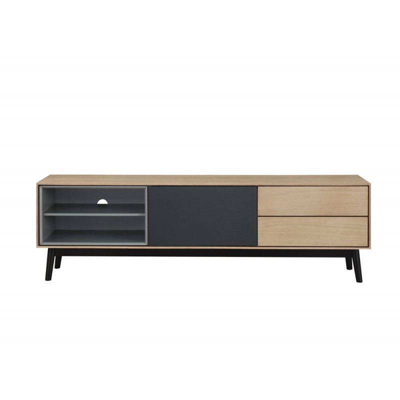 Most Recent Low Oak Tv Stands Inside Furniture Design Low Tv 2 Niches 1 Door 2 Drawers Adamo Wooden (Image 9 of 25)