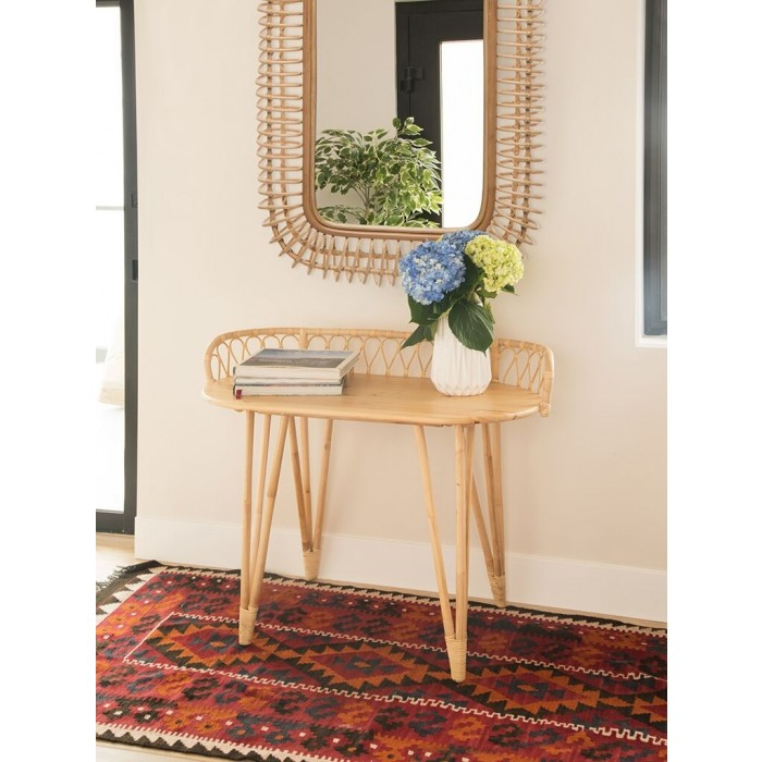 Most Recent Natural Cane Media Console Tables In Loop Rattan Console Table, Natural (View 19 of 25)
