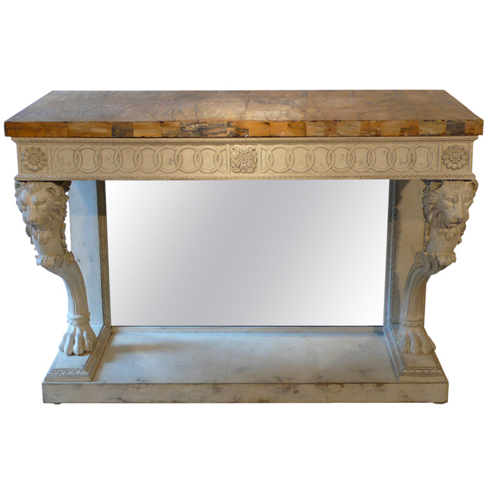 Most Recent Roman Metal Top Console Tables Regarding A Lacquered Console Table With Decoration Of Lion's Heads And Paw (View 16 of 25)
