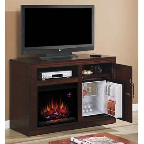 Most Recent Sinclair Blue 54 Inch Tv Stands Intended For Check Out This Tv Stand, Fireplace, And Mini Fridge – All In One (View 10 of 25)