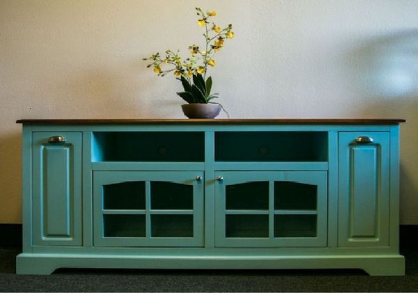 Most Recent Sinclair Blue 64 Inch Tv Stands Within Sea Breeze Collection – Solid Wood Turquoise Tv Console (Image 12 of 25)