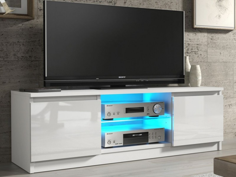 Most Recently Released Black Gloss Tv Stands With White Gloss Tv Unit Cabinet With Glass Shelf And Led Light 120Cm (Image 15 of 25)