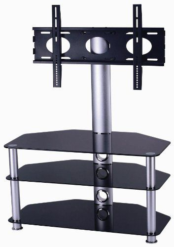 Most Recently Released Cantilever Glass Tv Stand Inside Mountright Cantilever Glass Tv Stand For Up To 50″ Led, Lcd & Plasma (Image 16 of 25)