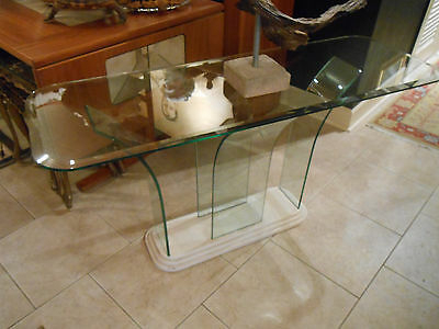 Most Recently Released Era Glass Console Tables For Mid Century Style, Milo Baughman Era, Waterfall  Curved  All Glass (Image 16 of 25)