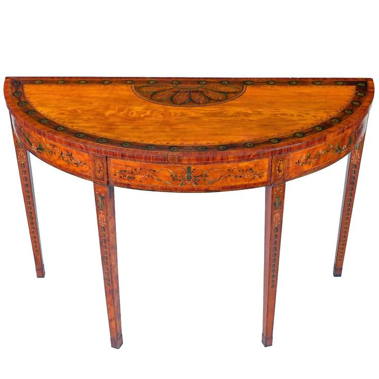 Most Recently Released Orange Inlay Console Tables Pertaining To Superb George Iii Inlaid Satinwood Demi Lune Console Table For Sale (Image 16 of 25)