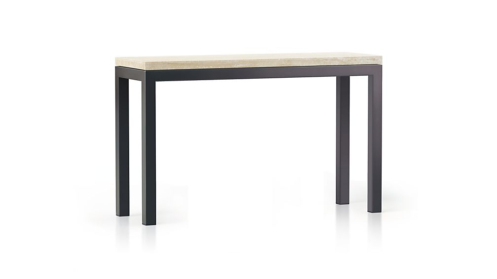 Most Recently Released Parsons Clear Glass Top & Stainless Steel Base 48X16 Console Tables Throughout Parsons Travertine Top/ Dark Steel Base 48X16 Console + Reviews (Image 5 of 25)