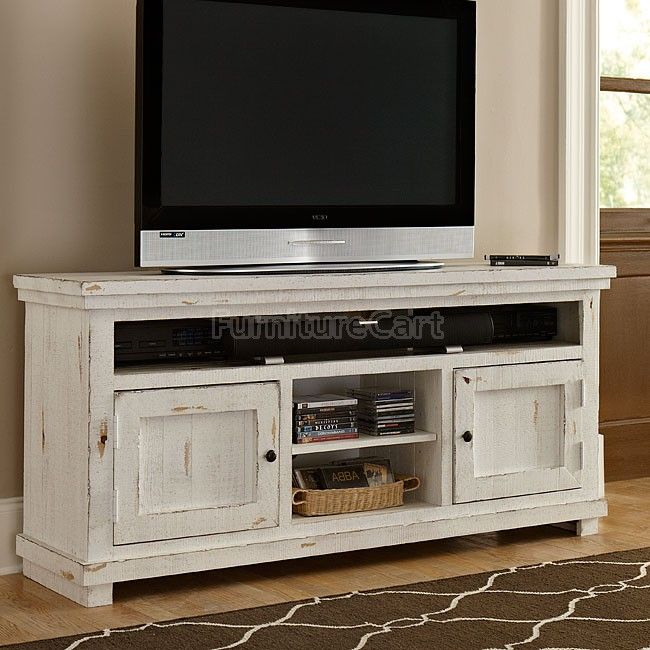 Most Recently Released Sinclair Blue 54 Inch Tv Stands Inside Willow 64 Inch Entertainment Console (Distressed White) In (View 5 of 25)