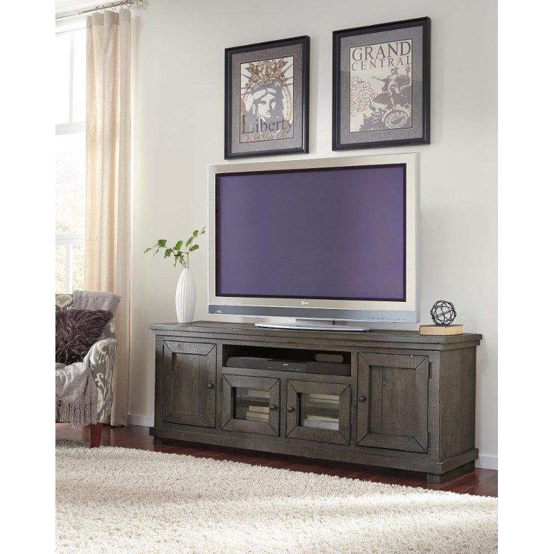 Most Recently Released Sinclair White 74 Inch Tv Stands Pertaining To 74 Inch Distresssed Gray Tv Stand – Willow (View 5 of 25)