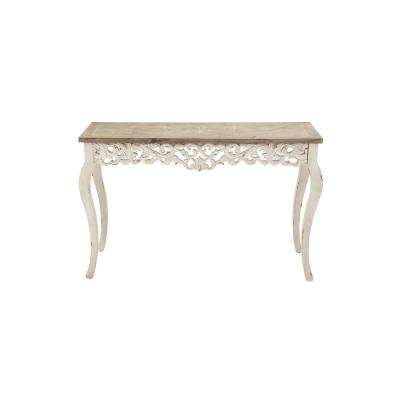 Most Up To Date Antique White Distressed Console Tables Inside Rustic – White – Console Table – Accent Tables – Living Room (View 6 of 25)