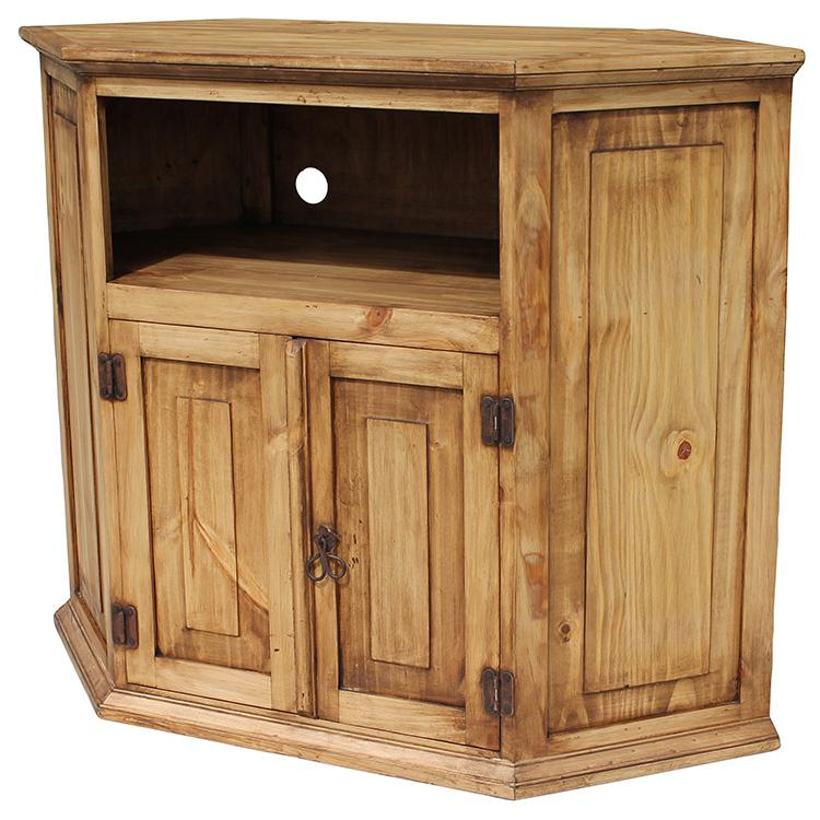 Most Up To Date Corner Tv Cabinets With Glass Doors Regarding Rustic Pine Collection Corner Tv Stand Com11 Tv Cabinet With Glass Doors (Image 14 of 25)