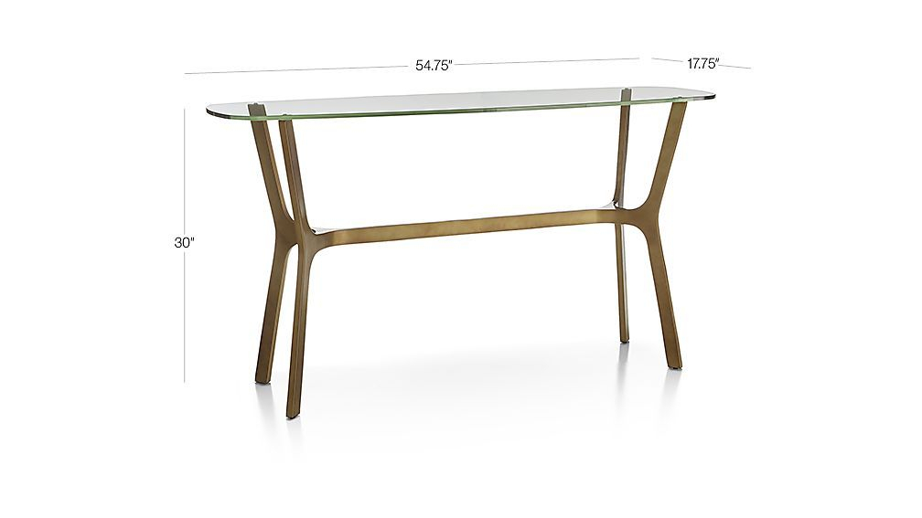 Featured Image of Elke Glass Console Tables With Brass Base