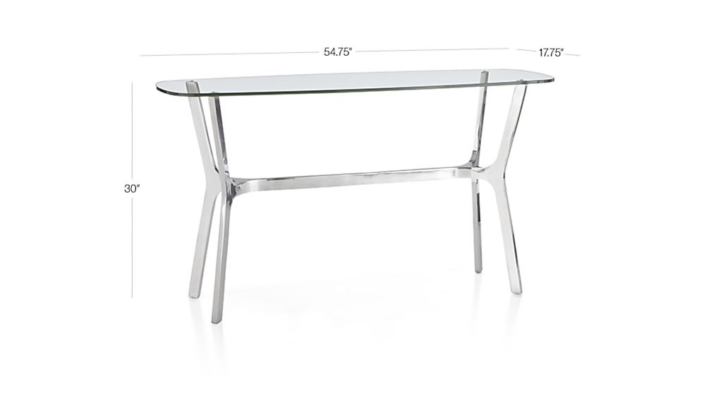 Featured Image of Elke Glass Console Tables With Polished Aluminum Base