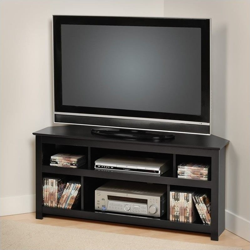 """Most Up To Date Flat Screen Tv Stands Corner Units Intended For Lowest Price Online On All Prepac Vasari 48"""" Corner Tv Stand In (View 5 of 25)"""