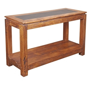 Most Up To Date Orange Inlay Console Tables Throughout Rustic Style Console Table With Stone Inlay Panel (View 8 of 25)
