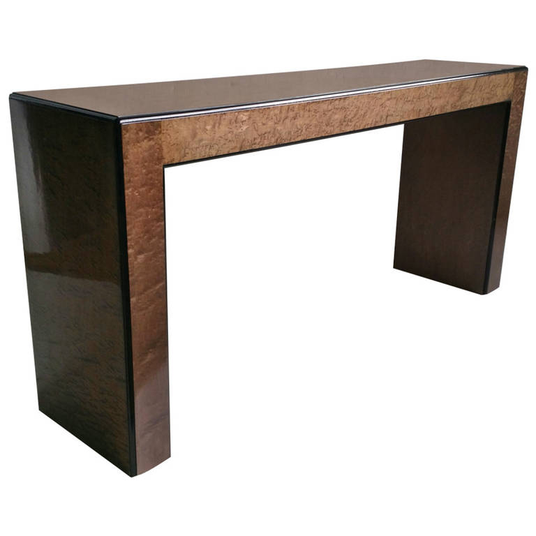 Most Up To Date Parsons Clear Glass Top & Elm Base 48X16 Console Tables Pertaining To Parsons Console Table (Image 14 of 25)