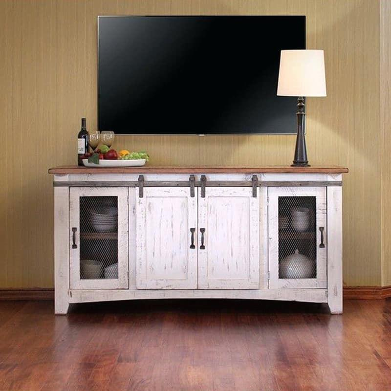 Most Up To Date Rustic Furniture Tv Stands Inside Rustic Furniture Tv Stands Pueblo White Barn Door Stand Ashley – Naily (Image 10 of 25)