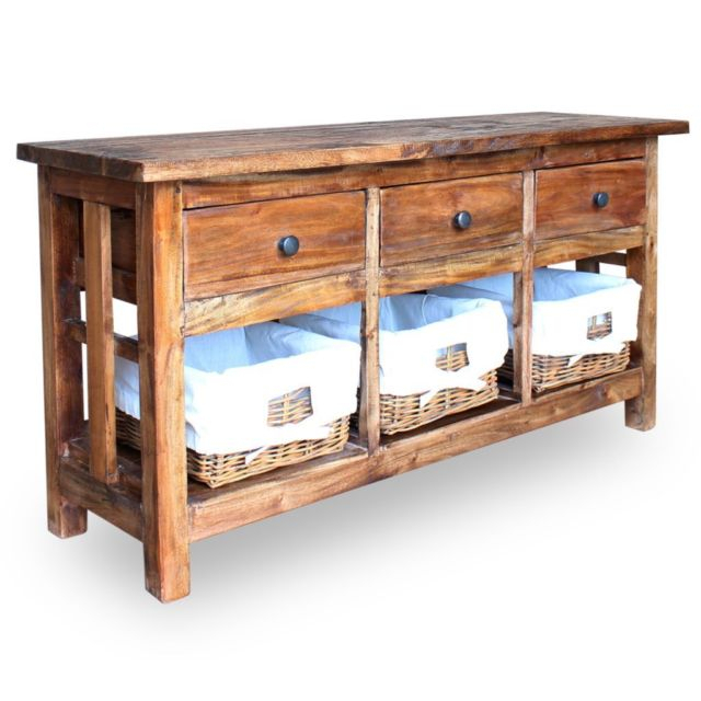 Most Up To Date Sideboard Tv Stands In Vidaxl Solid Reclaimed Wood Sideboard W/ Rattan Baskets Tv Stand (View 18 of 25)