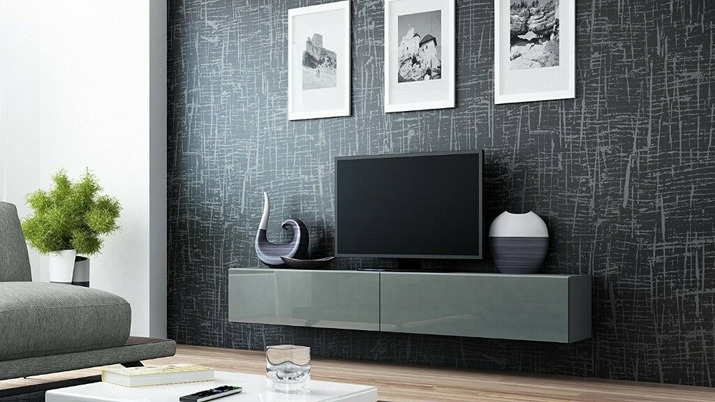 Most Up To Date Wakefield 85 Inch Tv Stands For Gloss Tv Stand Entertainment Cabinet – 180Cm Floating Wall Unit Grey (View 8 of 25)