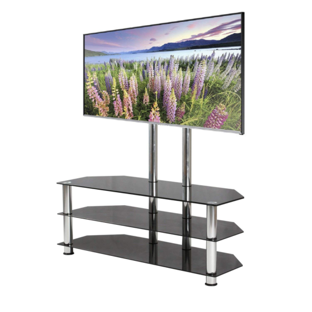 Mountright Ums5 Cantilever Glass Tv Stand For Up To 60 Inch Screens In Best And Newest Cantilever Glass Tv Stand (Image 19 of 25)