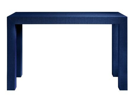 Navy Burlap Wrapped Entry Way Console