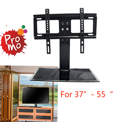"New Cantilever Glass Tv Stand With Bracket For 37"" 55"" Inch Lcd Led Regarding Well Known Cantilever Glass Tv Stand (Image 20 of 25)"