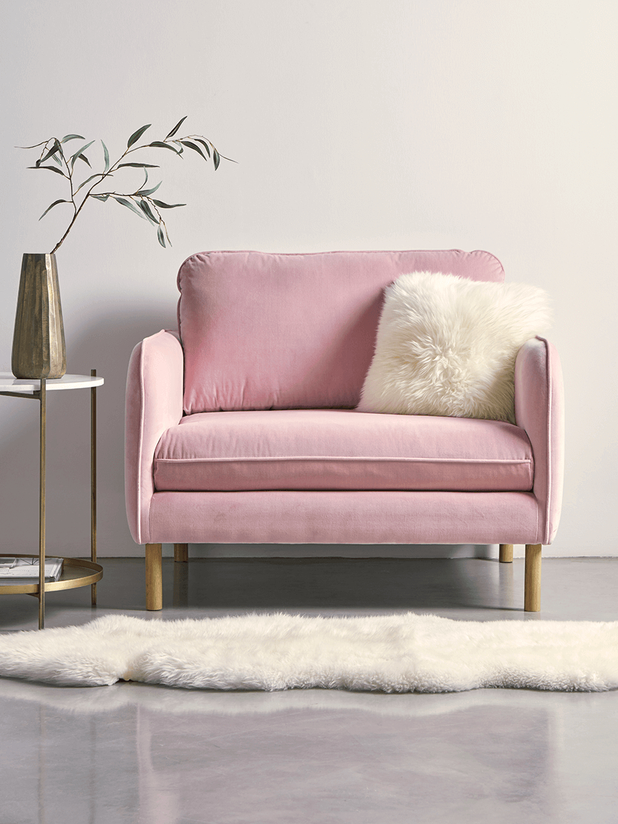 New Scandi Loveseat Blush Cotton Velvet | Bedroom | Pinterest | Love Intended For Ames Arm Sofa Chairs By Nate Berkus And Jeremiah Brent (View 22 of 25)